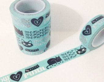 Aqua Blue and Black Kitty Cat Meow Purr Kitty Dish Hearts Washi Tape 11 yards 10 meters 15mm