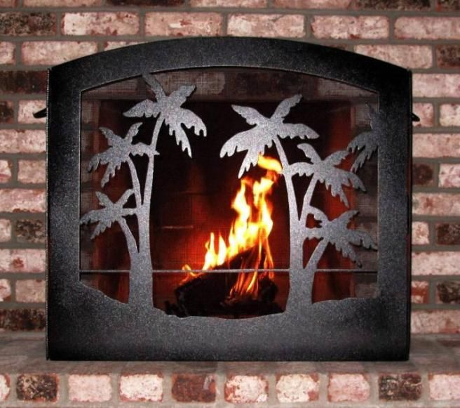 Palm Trees on Beach Heavy Duty Wrought Iron Fireplace Screen - Palm Trees On Beach Heavy Duty Wrought Iron Fireplace Screen We