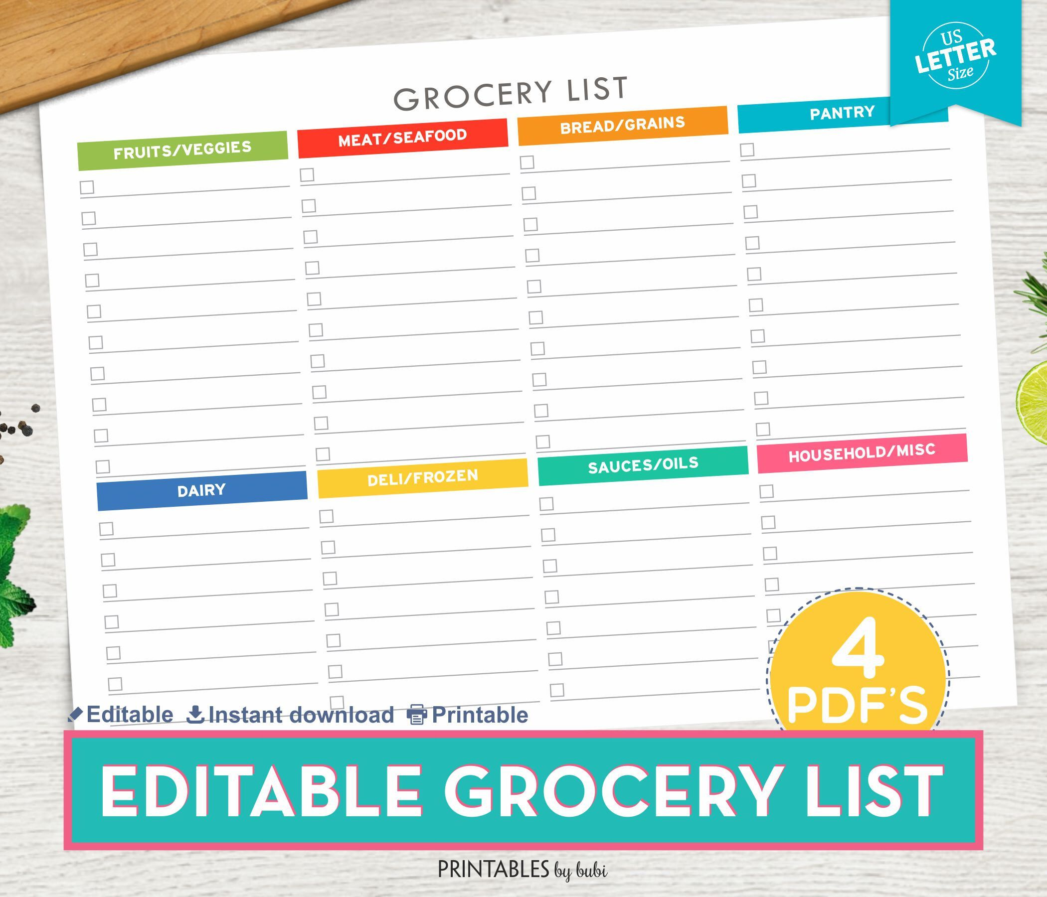 Grocery List Editable, Shopping List, Printable Grocery