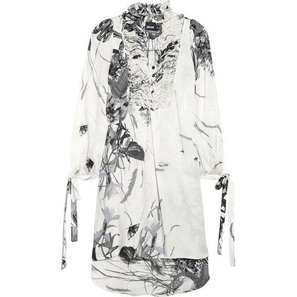 Just Cavalli Printed satin-twill dress ❤ liked on Polyvore