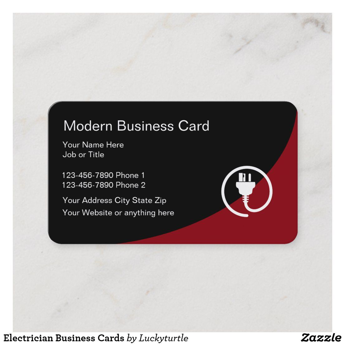 Electrician Business Cards Zazzle Com In 2021 Modern Business Cards Business Card Template Electrician