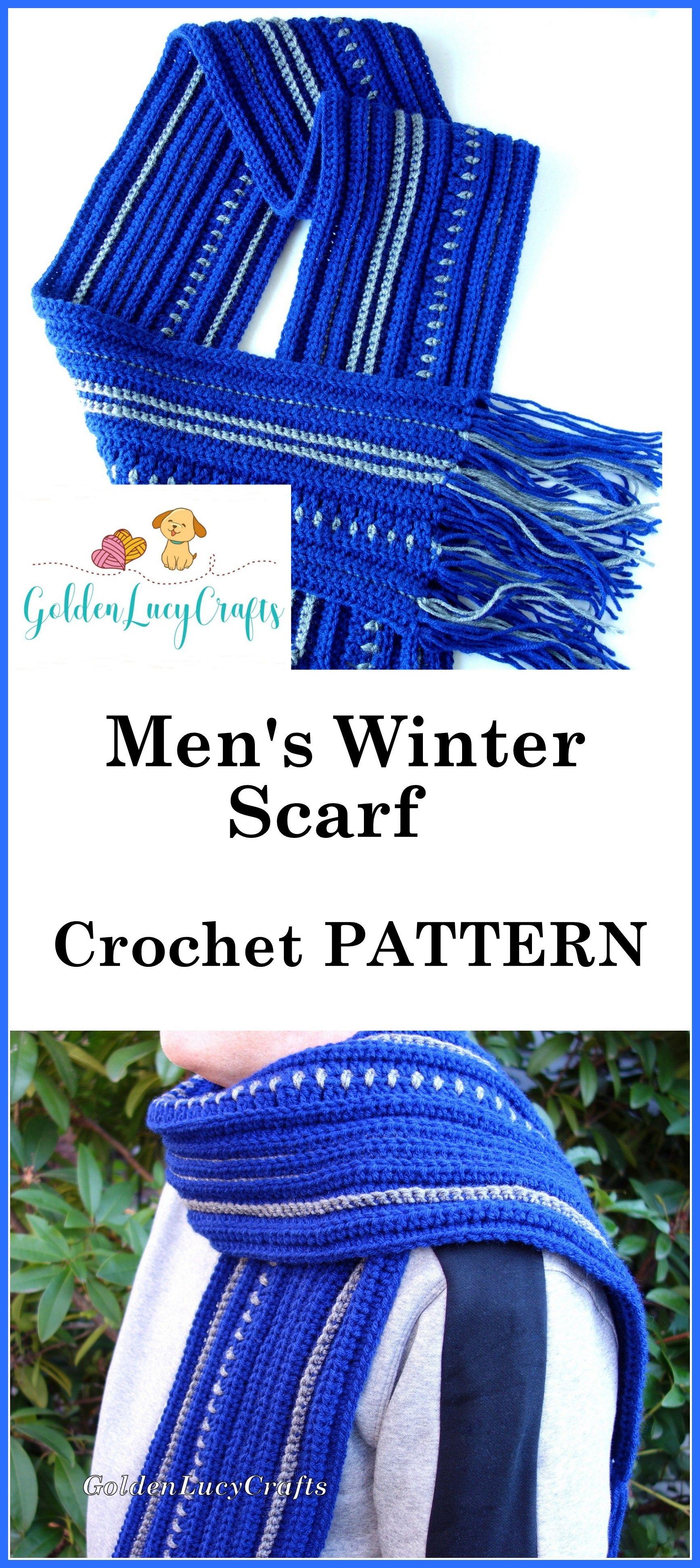 CROCHET PATTERN, Men\'s Scarf, Winter Scarf, PDF File   Projects to ...
