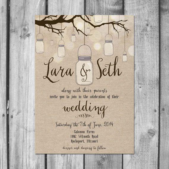 Hanging Mason Jar Wedding Invitation Set