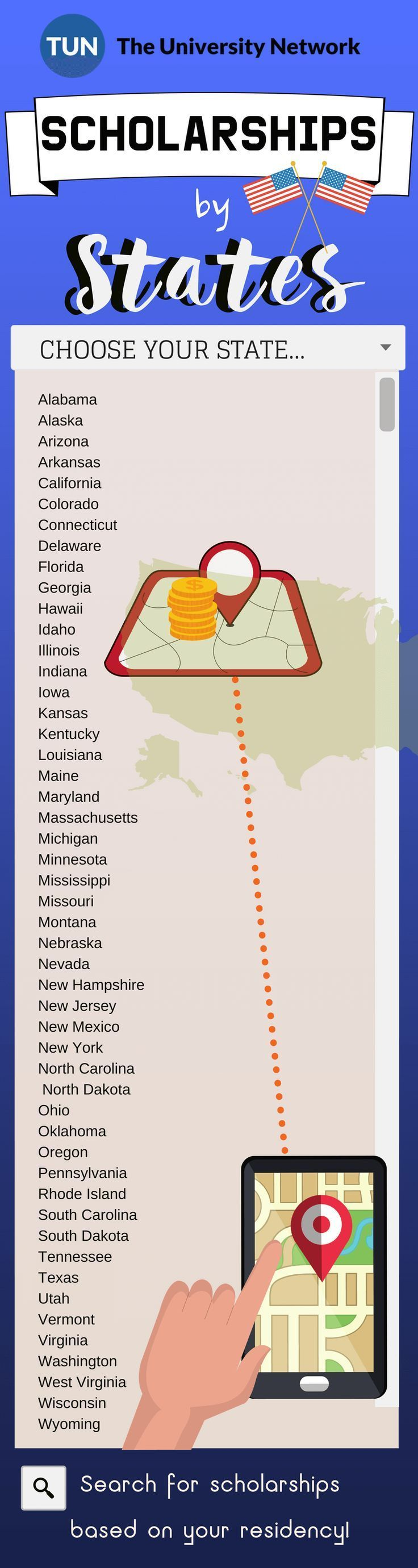 Find scholarships based on your state of residency there