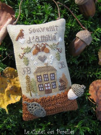 Cross stitch Autumn acorn tiny pillow ornament