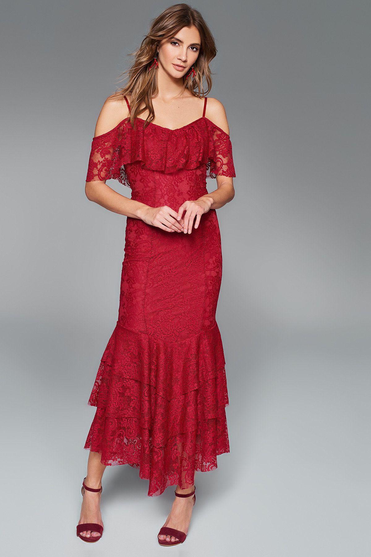 Bordo Dantel Elbise Trendyolmilla Trendyol Dantel Elbise The Dress Moda Stilleri