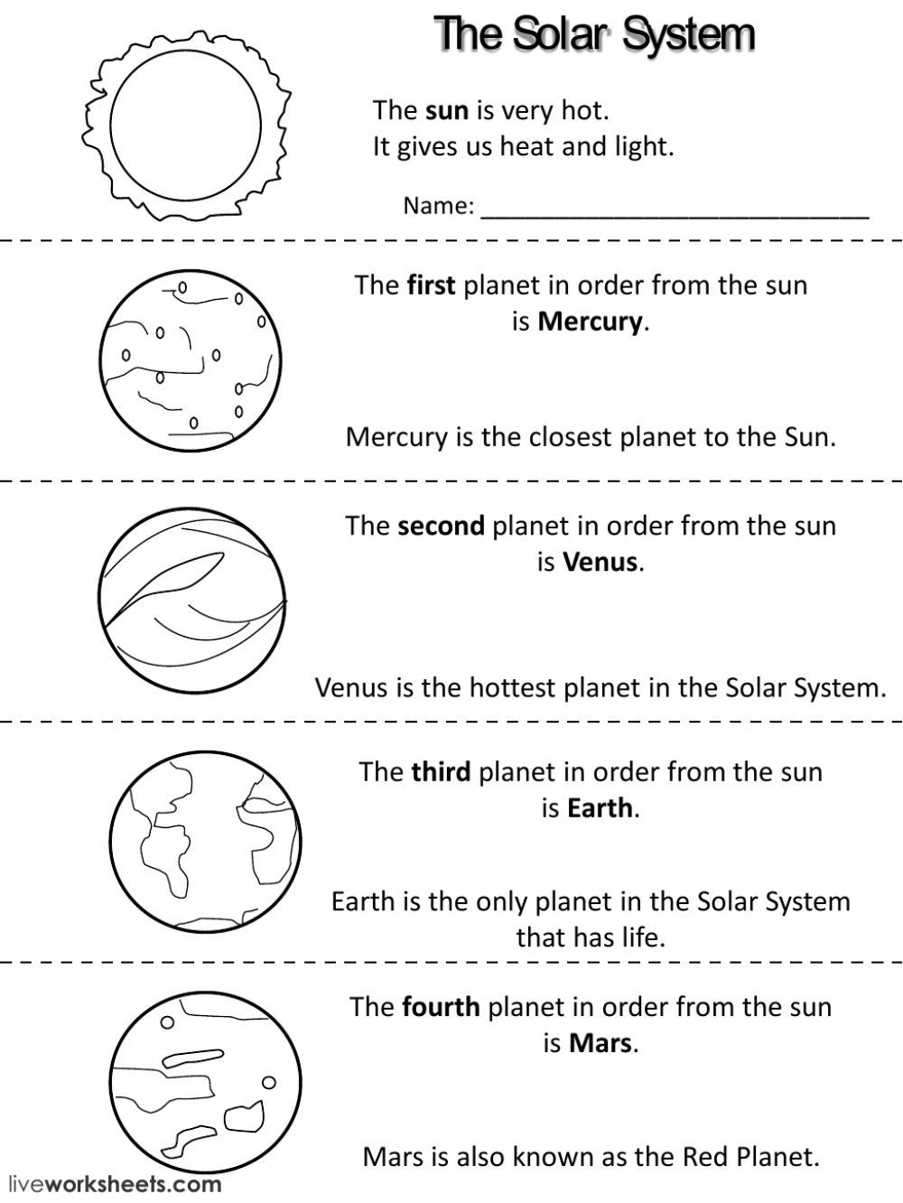 Planets facts - Interactive worksheet   Solar system worksheets [ 1332 x 1000 Pixel ]