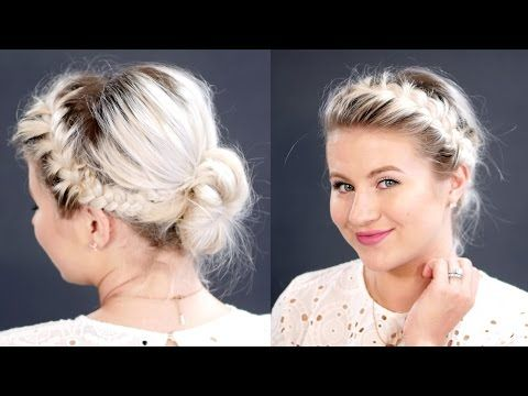 Double French Braids Messy Bun For Short Hair Milabu Youtube Short Hair Tutorial Braids For Short Hair French Braid Short Hair