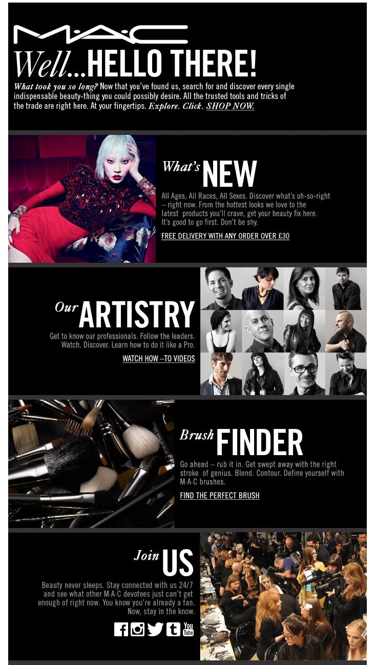 Welcome Email From Mac Cosmetics Emailmarketing Welcomeemails Inspiration Emails Html