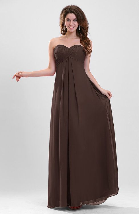 44ef98145cc Chocolate Brown Plain Sweetheart Sleeveless Backless Chiffon Floor Length Bridesmaid  Dresses