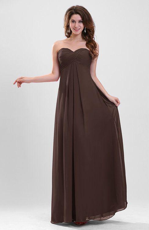 Chocolate Brown Plain Sweetheart Sleeveless Backless Chiffon Floor Length Br Brown Bridesmaid Dresses Black Bridesmaid Dresses Chocolate Brown Bridesmaid Dress