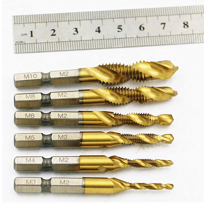 "6pcs Metric Thread M3-M10 Titanium Coated  Drill and Tap Bits 1//4/"" Hex Shank US"