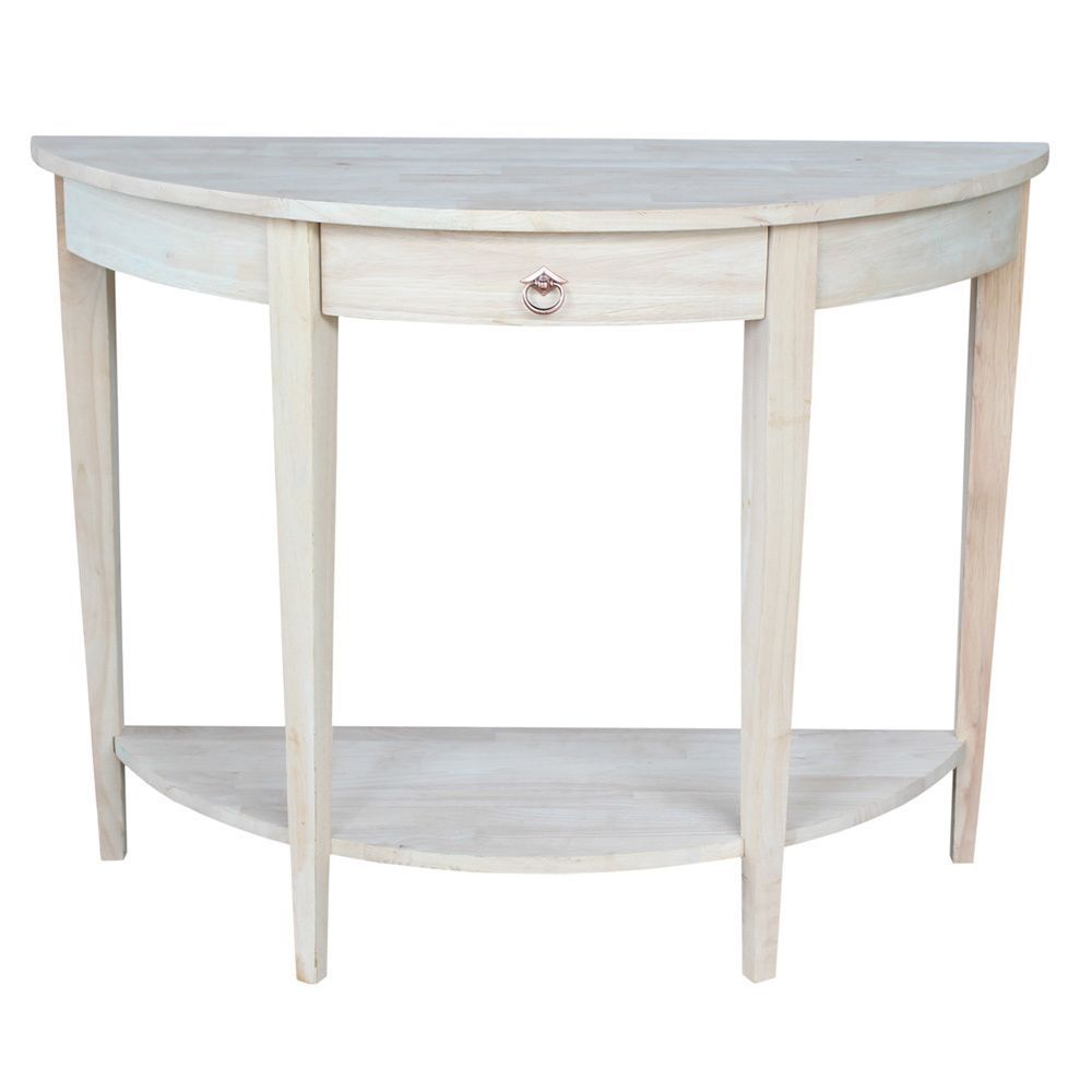 Half Moon Unfinished Modern Console Table Brown Bathroom
