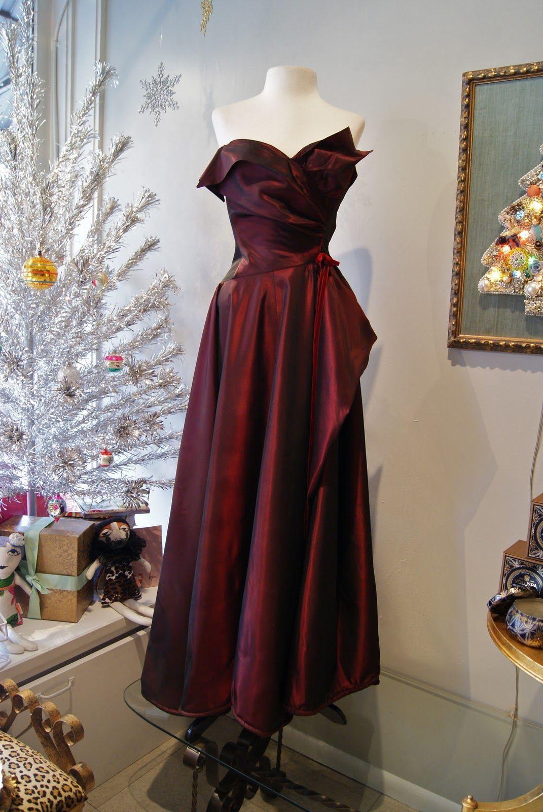 Dramatic 1950's red taffeta ball gown