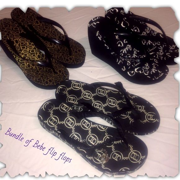 "Bebe rhinestone flip flops Bundle of 3 pair of Bebe rhinestone flip flops. All 3 are a size 8 1/2. 2 pair have a 4 inch wedge and ""Bebe"" written in rhinestones. There are rhinestone missing, but only noticeable up close and could easily be replaced. Paid $44 each last year, only worn a few times, I believe the rhinestones that fell off was during a move, definitely not from the few times I wore them. The other is a black and white pair of logo flip flops with a adorable bow & attachment…"