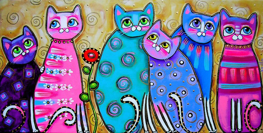 Colorful Cats With Flower Canvas Print / Canvas Art by ...
