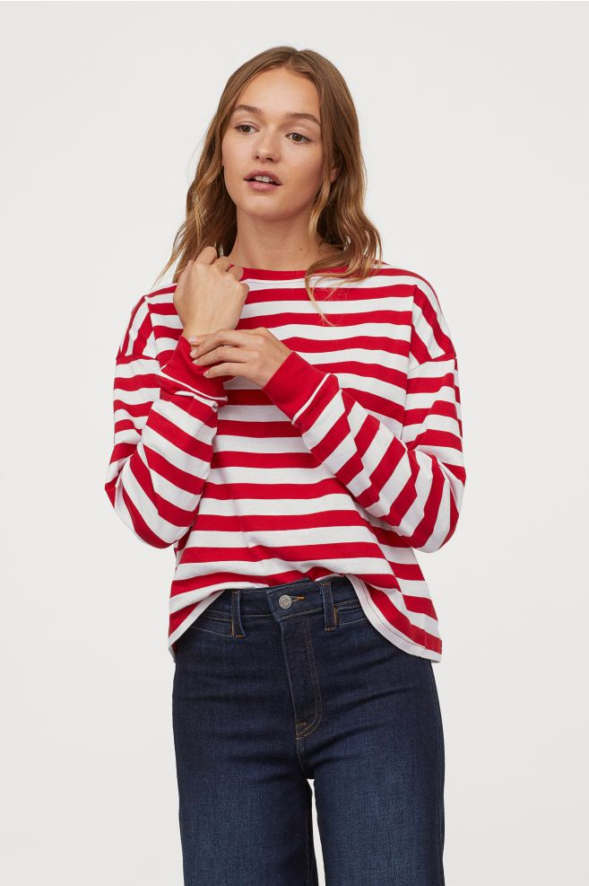 76fc665ab22 Striped Jersey Top - Red white striped - Ladies