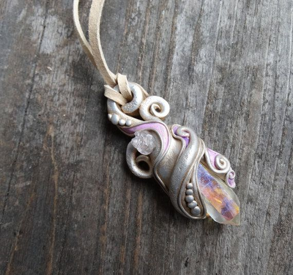 Angel opal aura quartz crystal pendant mermaid fairy jewelry angel opal aura quartz crystal pendant mermaid fairy jewelry handmade clay gemstone necklace aloadofball Gallery