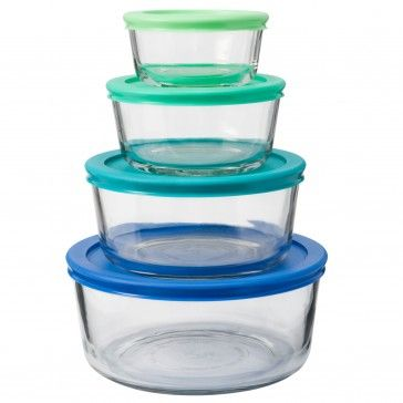 Anchor Hocking 8pc Round Food Storage Set Assorted Lids Food Storage Sets Food Storage Storage Organ Food Storage Set Glass Food Storage Glass Storage