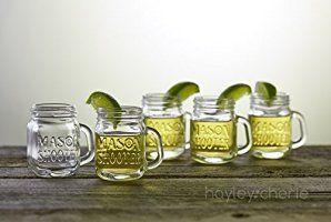 Hayley Cherie Mason Jar Shot Glasses With Lids Set Of 8 Mini Mason Shooter Glass With Handles Venetian Mirrors Mason Jar Shots Mason Jar Shot Glasses