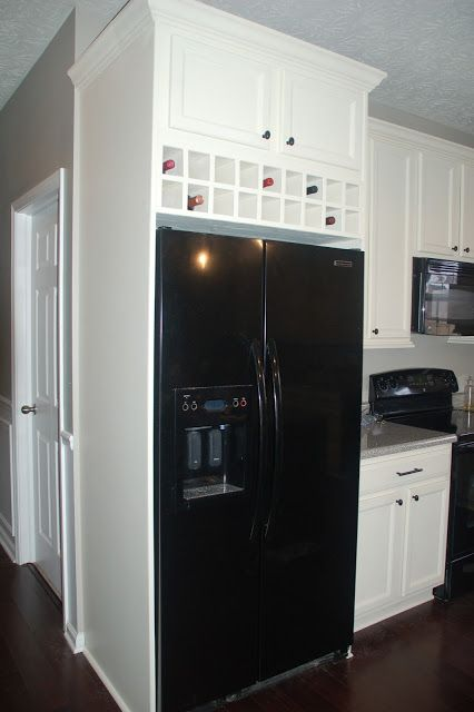 Diy Over Fridge Cabinet Wine Storage But With Dark Cabinets