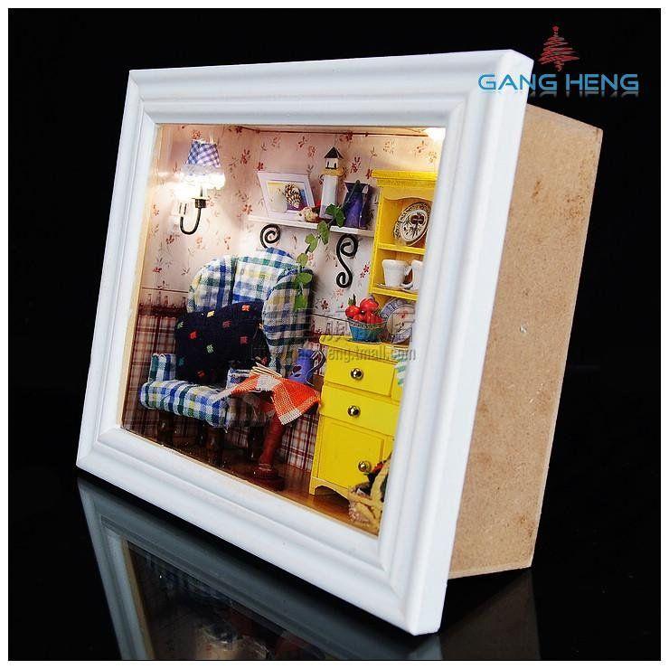 Small Room Box Kit Dhw021: 3D Wooden Frame LED Light Dollhouse Room Miniatures Kit