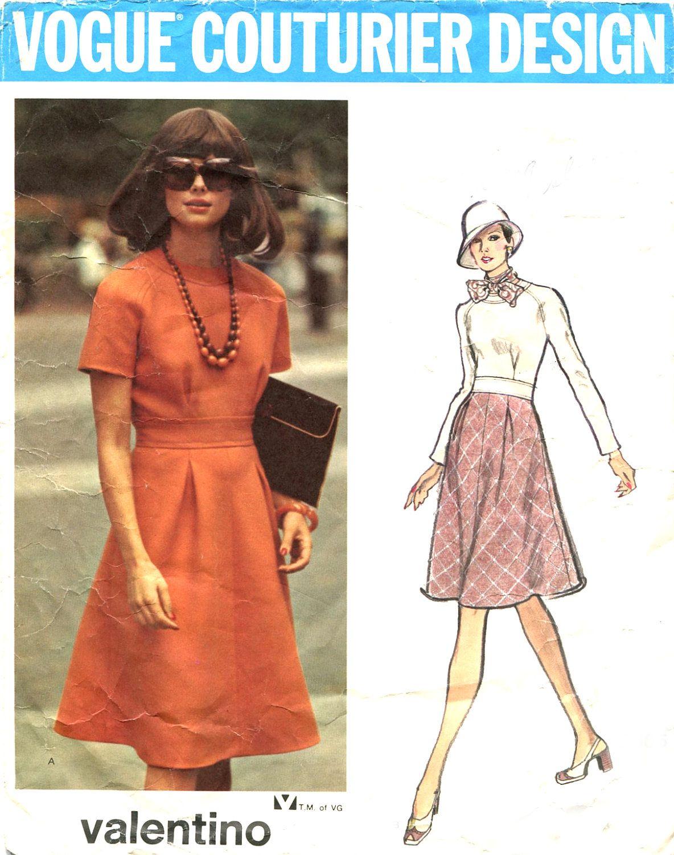 70s Vogue 2805 Valentino Designer Dress Pattern - Jewel Neckline ...