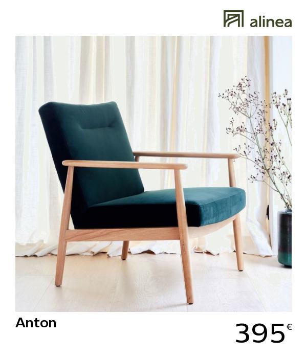 alinea : anton fauteuil en chêne et velours vert foncé ...