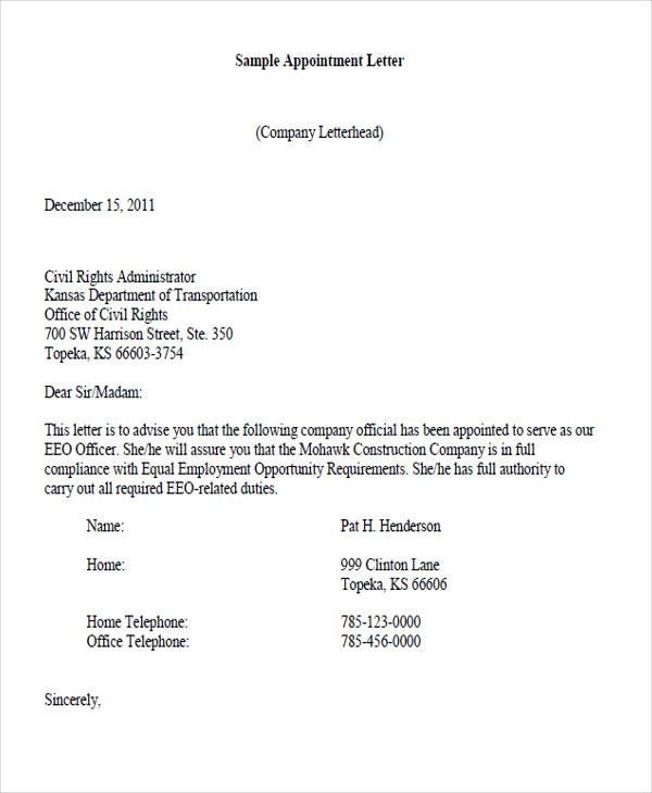 Appointment Letter Format Company Docs For Word And Pdf  Home
