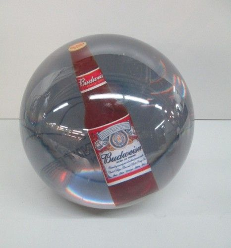 Budweiser Clear Ebonite 14 Lb Bowling Bowl With Bottle