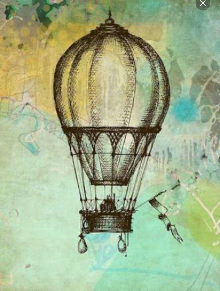 Aquarel achtergrond en met pen luchtballonnen tekenen op het canvas