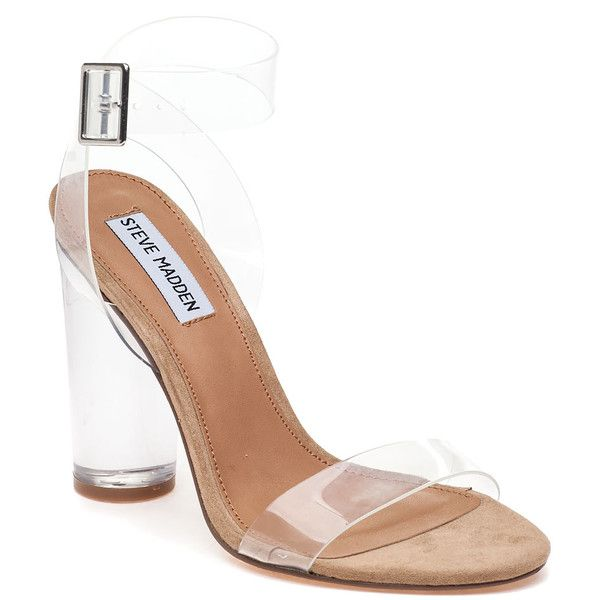 STEVE MADDEN Clearer Vinyl Sandal ($109) ❤ liked on Polyvore featuring shoes,  sandals