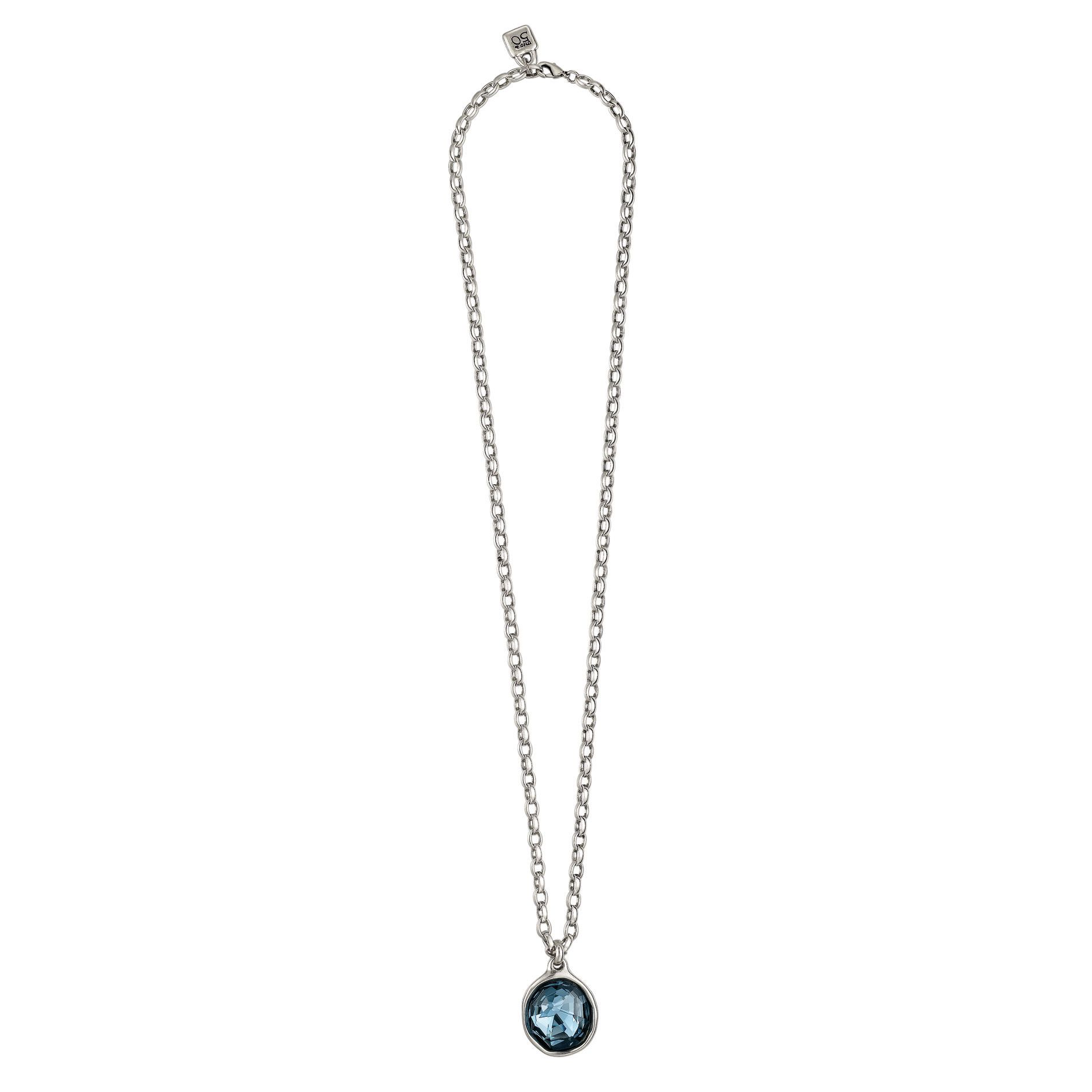 Uno de long chain link necklace with a large round geometric