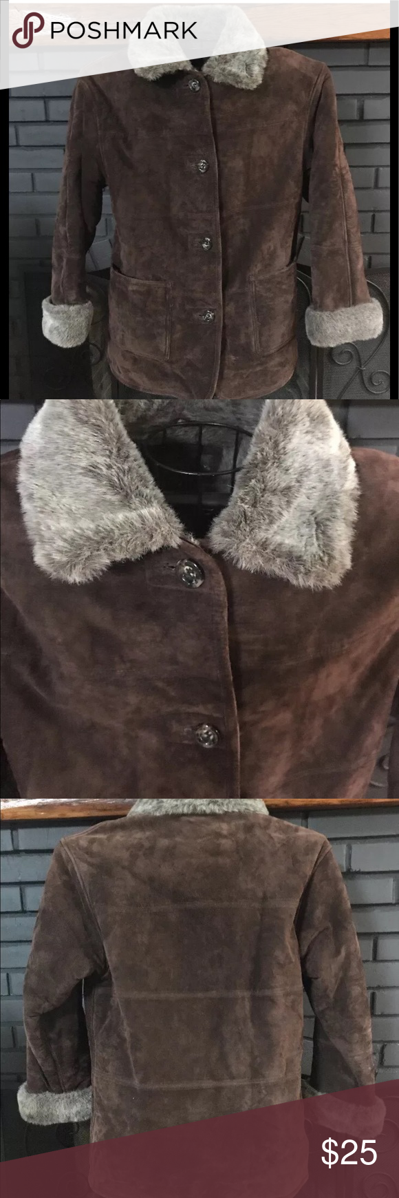 Galley Brown Leather faux Fur Lined Jacket small Faux