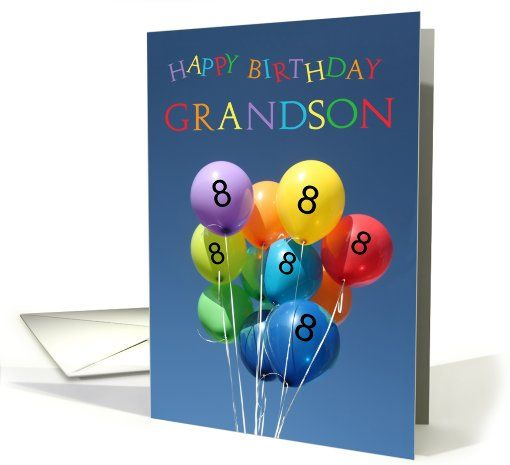 8th Birthday Card For Grandson Colored Balloons Created From An Original Studio Porto Sabbia Photo This Is Available As