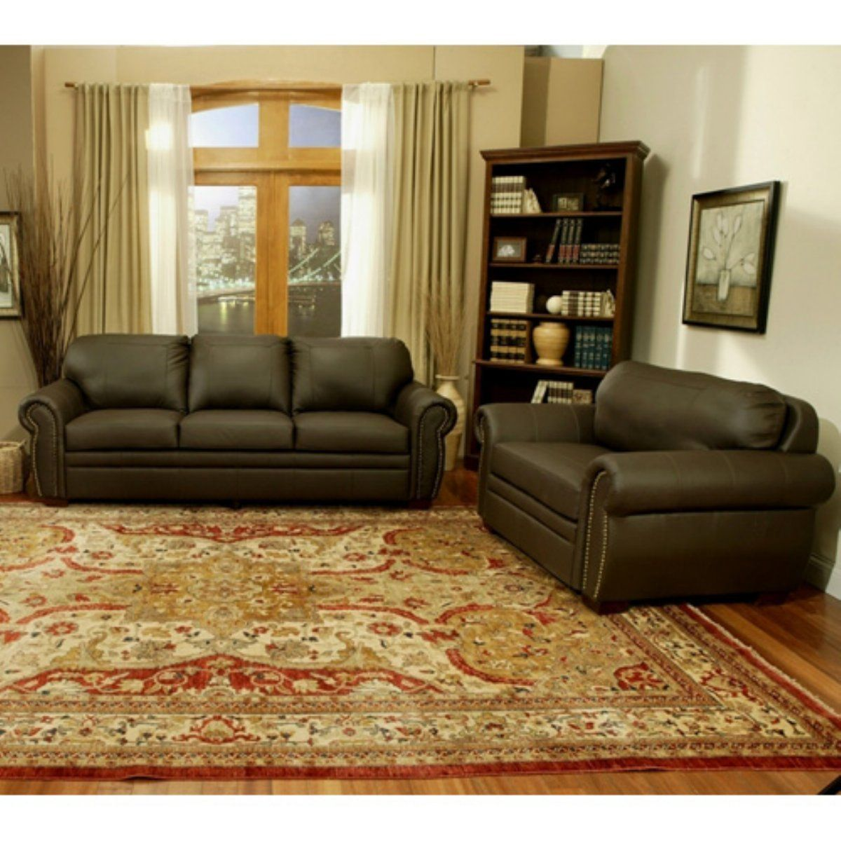 Bellavista Dark Brown Premium Italian Leather Oversized Sofa And Chair -  Familiarize Yourself With The Generously