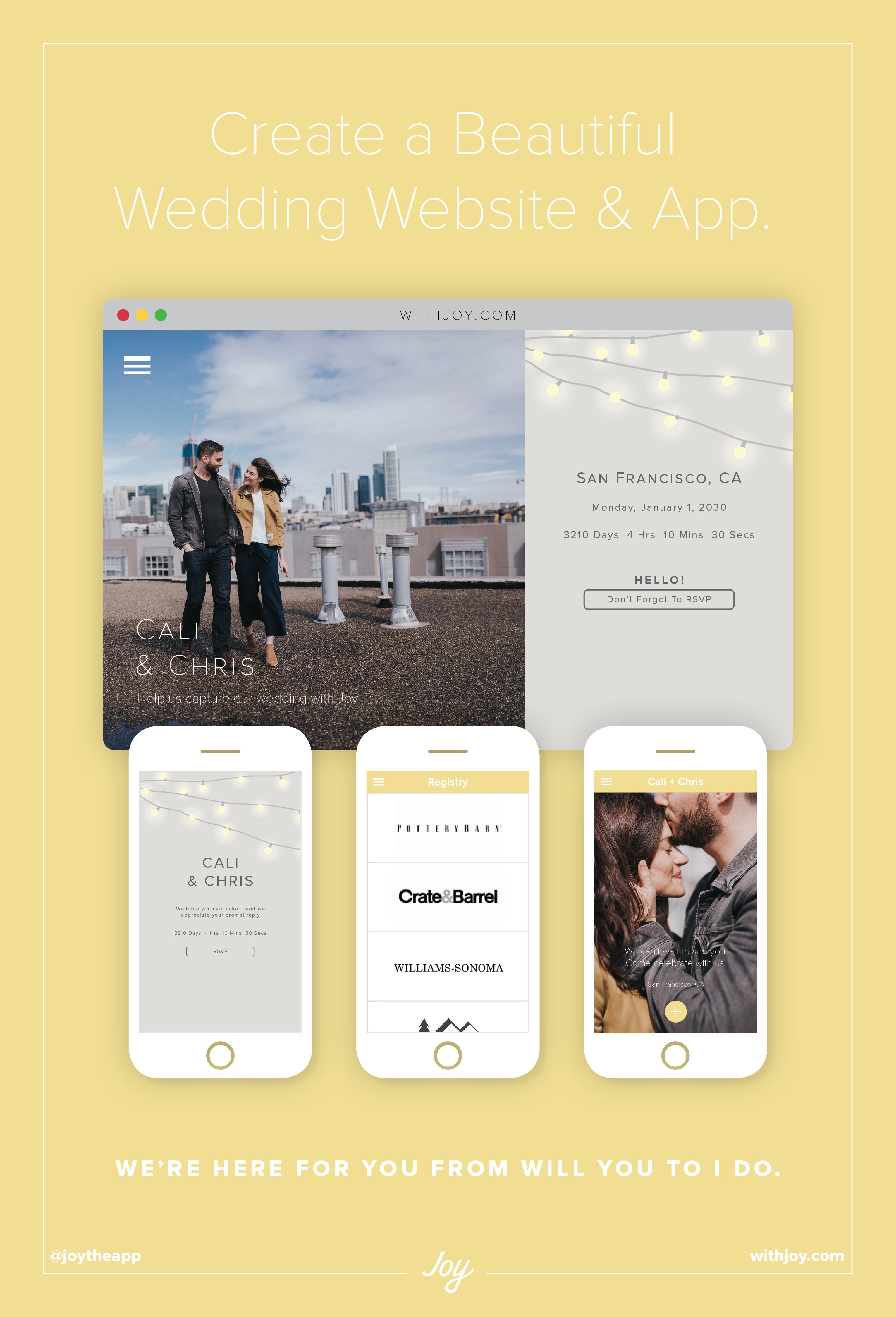 Joy Wedding Website.Manage Rsvps Collect Guest Photos Share Wedding Details More