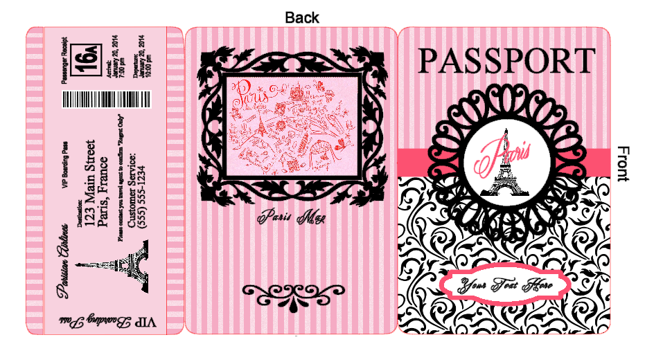 Paris Passport Invitations Yapis Sticken Co