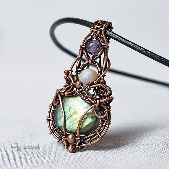 Copper wire jewelry labradorite wire jewellery amethyst | Artual ...