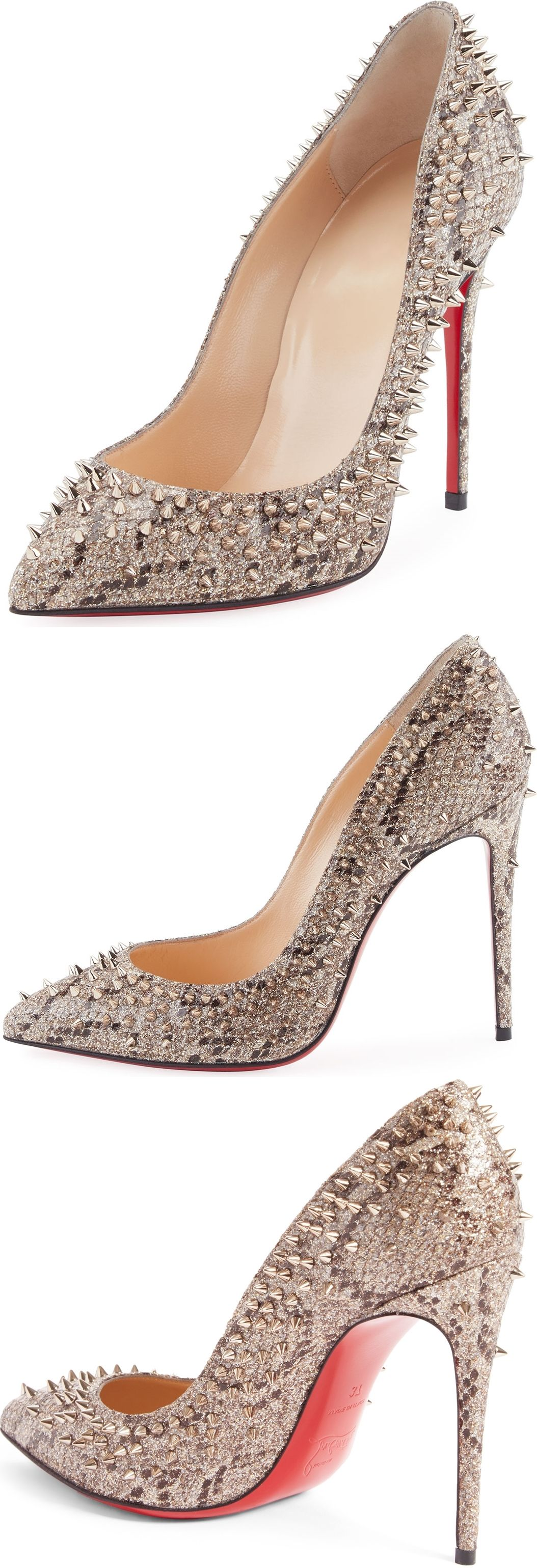 397d231114ee Christian Louboutin Escarpic Spike 100mm Red Sole Pump. How do you like  this snake-print glitter fabric pump with golden spikes