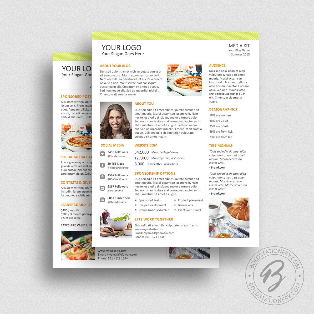 Blog Media Kit Template  Press Kit Template  Food Blogger