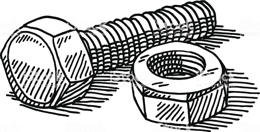 Hand-drawn vector drawing of Nut and Bolt. Black-and-White
