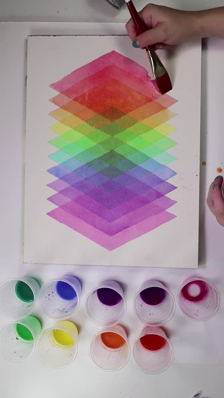 Amazing Diamond Watercolor Layered painting by Jos