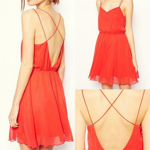Red V-shaped Neckline Spaghetti Strap Pleated Dress