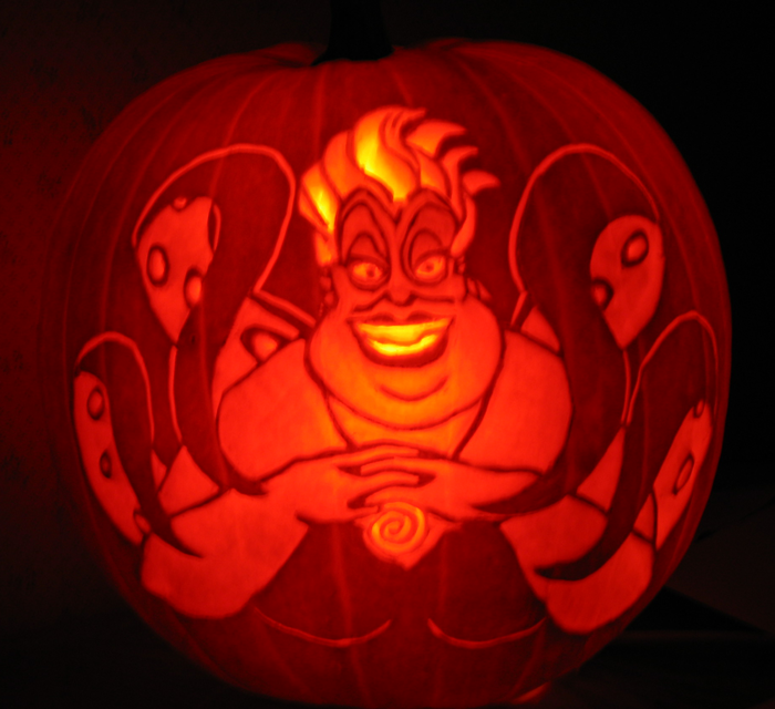 Ursula from the little mermaid pumpkin carving halloween
