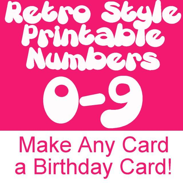 Retro Printable Numbers From To Download and Print for Card - numbers templates free