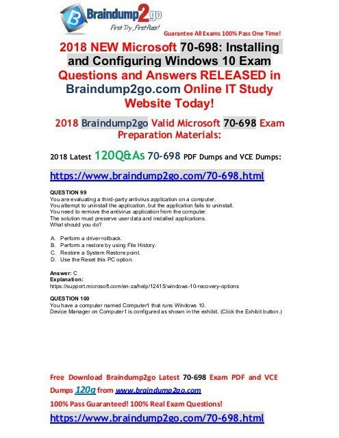 May 2018 New 70 698 Dumps With Pdf And Vce Just Updated 99 109