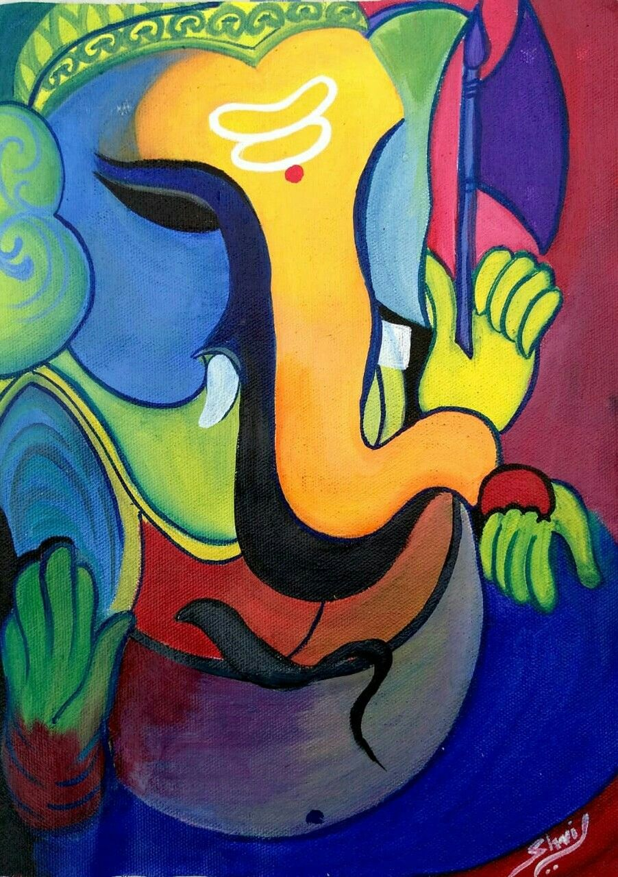 Bright Colours Painting Abstract Ganesha Painting With Bright Colours My Art In 2019