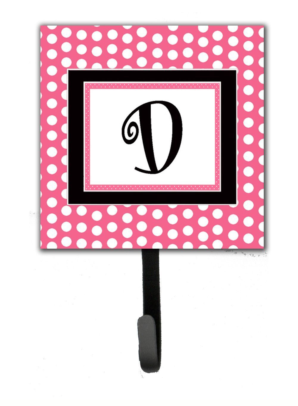 Letter d initial monogram pink black polka dots leash holder or