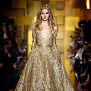 Shades of Gold Sparkle at Elie Saab FW15/16 at Haute Couture Week | SENATUS